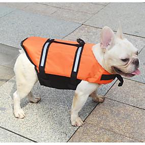 billige Kæledyr, Legetøj og hobbyartikler-Kat Hund Redningsvest Hundetøj Ensfarvet Orange Gul Terylene Kostume Til Forår, Efterår, Vinter, Sommer nyt Vanntett