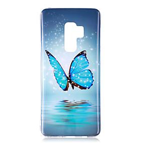 olcso Galaxy S tokok-Case Kompatibilitás Samsung Galaxy S9 Plus / S9 Foszforeszkáló / IMD / Minta Fekete tok Pillangó / Ragyog Puha TPU mert S9 / S9 Plus / S8 Plus