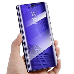 hesapli Galaxy S Serisi Kılıfları / Kapakları-Pouzdro Uyumluluk Samsung Galaxy S9 Plus / S9 Satandlı / Ayna / Flip Tam Kaplama Kılıf Solid Sert PU Deri için S9 / S9 Plus / S8 Plus