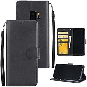 halpa Galaxy S -sarjan kotelot / kuoret-Etui Käyttötarkoitus Samsung Galaxy S9 Plus / S9 Lomapkko / Korttikotelo / Tuella Suojakuori Yhtenäinen Kova PU-nahka varten S9 / S9 Plus / S8 Plus