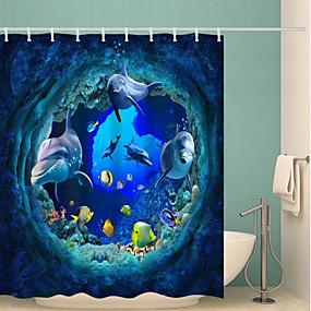 cheap Bathroom Gadgets-Shower Curtains & Hooks Classic Polyester Novelty Machine Made Waterproof Bathroom