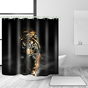 cheap Bathroom Gadgets-Shower Curtains & Hooks Contemporary Modern Polyester Animal Machine Made Waterproof Bathroom