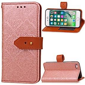 olcso iPhone tokok-Case Kompatibilitás Apple iPhone 6 Pénztárca / Kártyatartó / Állvánnyal Héjtok Egyszínű Kemény PU bőr mert iPhone 6