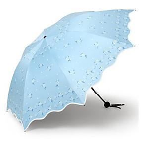 Недорогие Защита от дождя-Полиэстер / Нержавеющая сталь Все Новый дизайн / Солнечный и дождливой Складные зонты