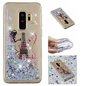 voordelige Galaxy S7 Edge Hoesjes / covers-hoesje Voor Samsung Galaxy S9 / S9 Plus / S8 Plus Stromende vloeistof / Patroon / Glitterglans Achterkant Eiffeltoren / Glitterglans Zacht TPU
