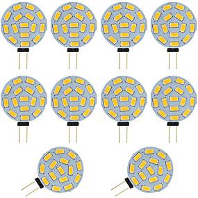 رخيصةأون مصابيح ليد ثنائية-10PCS 2W G4 أدى ثنائي دبوس لمبة جولة 15 SMD 5730 العاصمة / AC 12 - 24V دافئ / أبيض بارد