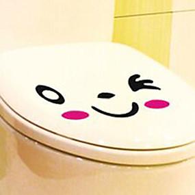 cheap Bathroom Gadgets-Stickers & Tapes / Toilet Seat Cartoon / Creative Cartoon / Modern / Contemporary PVC(PolyVinyl Chloride) 1pc - Mirror / cleaning Bathroom Decoration