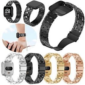 저렴한 Fitbit 밴드 시계-시계 밴드 용 Fitbit Versa 핏빗 스포츠 밴드 스테인레스 스틸 손목 스트랩