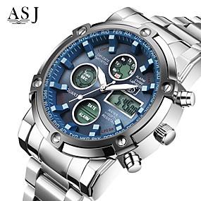Χαμηλού Κόστους Επώνυμα ρολόγια-ASJ Ανδρικά Αθλητικό Ρολόι Ρολόι Καρπού Ψηφιακό ρολόι Ιαπωνικά Χαλαζίας Ανοξείδωτο Ατσάλι Λευκή 30 m Ανθεκτικό στο Νερό Χρονογράφος LCD Αναλογικό-Ψηφιακό Μοντέρνα Ρολόι Φορέματος - Λευκό Μαύρο Μπλε