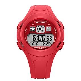 voordelige Merk Horloge-SANDA Heren Dames Sporthorloge Digitaal horloge Japans Digitaal Silicone Zwart / Rood / Groen 30 m Waterbestendig Kalender Stopwatch Digitaal Cartoon Modieus - Groen Roze Lichtblauw