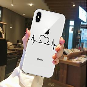 olcso iPhone tokok-Case Kompatibilitás Apple iPhone X / iPhone 8 Átlátszó / Minta Fekete tok Szív Puha TPU mert iPhone X / iPhone 8 Plus / iPhone 8
