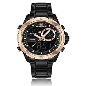 voordelige Merk Horloge-NAVIFORCE Heren Sporthorloge Militair horloge Digitaal horloge Japans Japanse quartz Roestvrij staal Zwart / Zilver 30 m Waterbestendig Alarm Kalender Analoog-Digitaal Luxe Modieus - Zwart en Gold