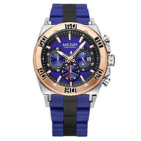 Недорогие Фирменные часы-MEGIR Муж. Спортивные часы Нарядные часы Японский Кварцевый Нержавеющая сталь силиконовый Черный / Небесно-голубой 30 m Защита от влаги Календарь Секундомер Аналоговый Роскошь Классика Мода -