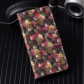 voordelige Galaxy S7 Edge Hoesjes / covers-hoesje Voor Samsung Galaxy S9 / S9 Plus / S8 Plus Portemonnee / Kaarthouder / met standaard Volledig hoesje Doodskoppen / Bloem Hard PU-nahka
