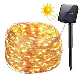 a8820f34624 ... cable de cobre energía solar luces de cadena luces de cadena de hadas  estrelladas al aire libre con 8 modos a prueba de agua para la boda jardín  casa ...