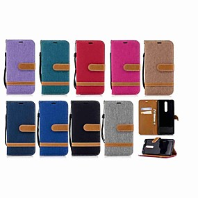 cheap Nokia-Case For Nokia Nokia 5.1 / Nokia 3.1 Wallet / Card Holder / with Stand Full Body Cases Solid Colored Hard Textile for Nokia 5.1 / Nokia 3.1 / Nokia 2.1