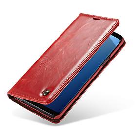 Недорогие Чехлы и кейсы для Galaxy S5 Mini-CaseMe Кейс для Назначение SSamsung Galaxy S9 Plus / S9 Бумажник для карт / Флип Чехол Однотонный Твердый Кожа PU для S9 / S9 Plus / S8 Plus