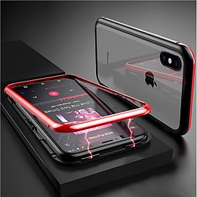 olcso iPhone tokok-Apple iphone xr xs xs max átlátszó / mágneses tokok szilárd színű kemény edzett üveg iphone x 8 8 plus 7 7plus 6s 6s plus se 5 5s