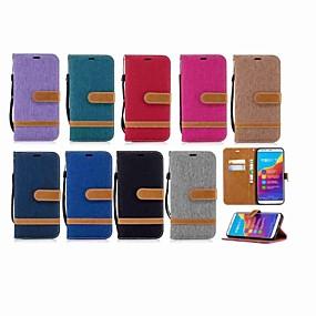 voordelige Huawei Honor hoesjes / covers-hoesje Voor Huawei Honor 7X / Honor 7A / Honor 7C(Enjoy 8) Portemonnee / Kaarthouder / met standaard Volledig hoesje Effen Hard tekstiili