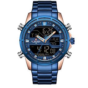 voordelige Merk Horloge-NAVIFORCE Heren Sporthorloge Militair horloge Digitaal horloge Japans Japanse quartz Roestvrij staal Zwart / Blauw / Goud 30 m Alarm Kalender Chronograaf Analoog-Digitaal Luxe Modieus - Blauw Goud