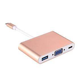 economico Samsung Galaxy Note 9-Type-C Adattatore cavo USB 1 a 3 Adattatore Per Macbook / Samsung / Lenovo 10.3 cm Per Alluminio