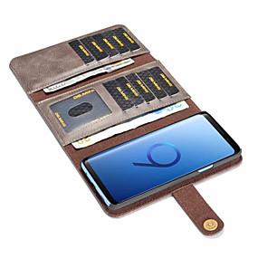 voordelige Galaxy S7 Hoesjes / covers-hoesje Voor Samsung Galaxy S9 / S9 Plus / S8 Plus Kaarthouder / Schokbestendig / Flip Volledig hoesje Effen Hard PU-nahka