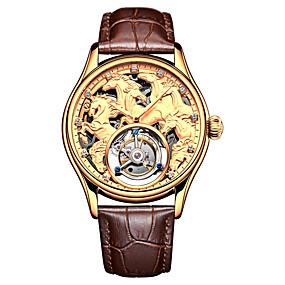 voordelige Merk Horloge-AngelaBOS Heren Skeleton horloge mechanische horloges Handmatig opwindmechanisme Echt leer Zwart / Bruin 50 m Waterbestendig Hol Gegraveerd Vrijetijdshorloge Analoog Luxe Modieus - Goud Zilver Goud