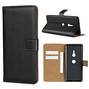 baratos Sony-Capinha Para Sony Xperia XZ2 Premium / Xperia L2 Carteira / Porta-Cartão / Com Suporte Capa Proteção Completa Sólido Rígida couro legítimo para Sony Xperia XZ2 Premium / Sony Xperia XZ3 / Xperia XZ2