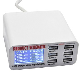 billige Periferiudstyr til computere-USB oplader SR-1008L 6 Desk Charger Station LCD Display / Nyt Design / Med smart identifikation US Stik / EU  Stik / UK  Stik Opladningsadapter