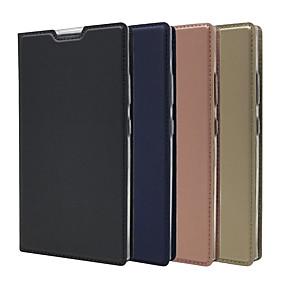 baratos Sony-Capinha Para Sony Xperia XA2 Ultra / Xperia XZ2 Premium Porta-Cartão / Com Suporte / Flip Capa Proteção Completa Sólido Rígida PU Leather para Sony Xperia Z5 / Z5 Mini / Sony Xperia XZ2 Premium