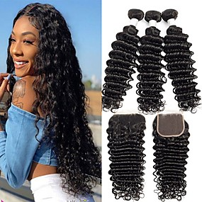 cheap Hair Extensions-3 Bundles with Closure Deep Wave Remy Human Hair Unprocessed Human Hair Natural Color Hair Weaves / Hair Bulk Extension Bundle Hair 8-20 inch Natural Color Human Hair Weaves Simple Best Quality New