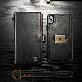 abordables CaseMe®-CaseMe Coque Pour Apple iPhone XR Portefeuille / Porte Carte / Clapet Coque Intégrale Couleur Pleine Dur faux cuir pour iPhone XR