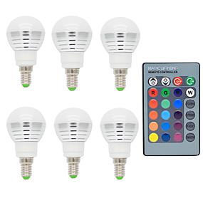 ieftine Becuri LED Glob-6pcs 2w e14 rgb bec cu led cu telecomandă 16 schimbare culoare ac85-265v