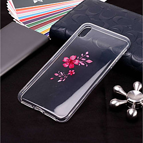 abordables Coques d'iPhone-Coque Pour Apple iPhone XR / iPhone XS Max Transparente / Motif Coque Fleur Flexible TPU pour iPhone XS / iPhone XR / iPhone XS Max
