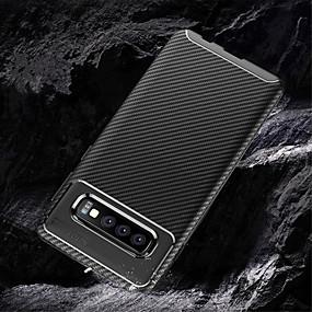 halpa Galaxy S -sarjan kotelot / kuoret-Etui Käyttötarkoitus Samsung Galaxy Galaxy S10 / Galaxy S10 Plus Koristeltu Takakuori Yhtenäinen Pehmeä Hiilikuitu varten S9 / S9 Plus / Galaxy S10