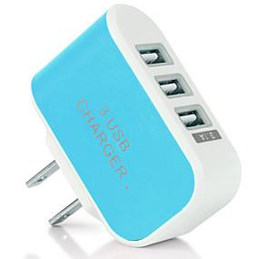 billige Hurtigladere-Lille og mobil oplader / Trådløs Oplader USB oplader US Stik Normal 3 USB-porte 2 A DC 5V for