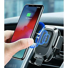 billige Trådløse bilopladere-baseus qi bil trådløs oplader luftventil automatisk monteringsholder til iphone 8 plus xr x xs max samsung galaxy s10 s10 + s10e s9 s8 intelligent infrarød sensor hurtig trådløs opladning