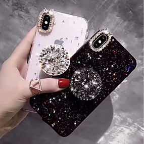 abordables Coques d'iPhone-Coque Pour Apple iPhone XS Max / iPhone 6 Strass / Avec Support Coque Brillant Dur TPU pour iPhone XS / iPhone XR / iPhone XS Max