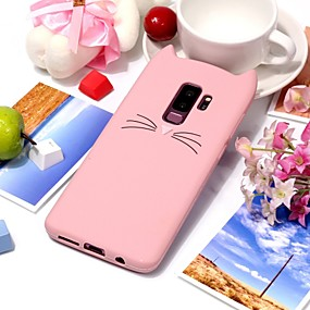 halpa Galaxy S -sarjan kotelot / kuoret-Etui Käyttötarkoitus Samsung Galaxy S9 Plus / S9 Ultraohut Takakuori Kissa / 3D sarjakuva Pehmeä TPU varten S9 / S9 Plus / S8 Plus