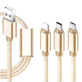 Недорогие Google-Micro USB / Подсветка / Type-C Кабель 1m-1.99m / 3ft-6ft Все в одном / Плетение / От 1 до 3 текстильный Адаптер USB-кабеля Назначение iPad / Samsung / Huawei