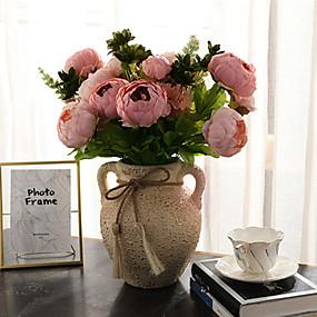 ieftine Casă & Grădină-Flori artificiale 1 ramură Clasic Modern contemporan European Bujori Florile veșnice Față de masă flori