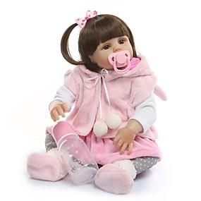 olcso Babák és töltött játékok-NPKCOLLECTION Reborn Dolls Baba Lány babák 20 hüvelyk Teljes test szilikon Vinil - Ajándék Új design Mesterséges beültetés barna szemek Gyerek Uniszex Játékok Ajándék