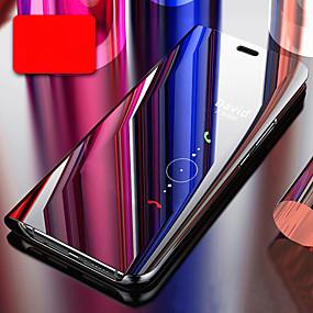 billige Huawei-Etui Til Huawei P20 / Huawei P30 Belægning / Spejl / Flip Fuldt etui Ensfarvet Hårdt PC / silica Gel for Huawei P20 / Huawei P20 Pro / Huawei P20 lite