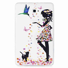 voordelige Galaxy Tab E 9.6 Hoesjes / covers-hoesje Voor Samsung Galaxy Tab E 9.6 / Tab A 10.1 (2016) Patroon Achterkant Vlinder / Sexy dame Zacht TPU