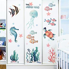 cheap Decoration Stickers-Cartoon underwater world stickers children's room bedroom wall decoration kindergarten marine wall stickers small fish ins stickers