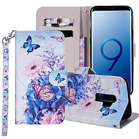 halpa Galaxy S -sarjan kotelot / kuoret-Etui Käyttötarkoitus Samsung Galaxy S9 Plus / S8 Plus Lomapkko / Korttikotelo / Tuella Suojakuori Perhonen / Kukka Kova PU-nahka varten S9 / S9 Plus / S8 Plus