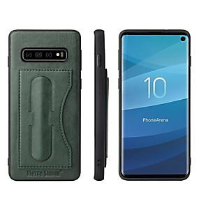 Χαμηλού Κόστους Θήκες / Καλύμματα Galaxy S Series-Fierre Shann tok Για Samsung Galaxy Galaxy S10 / Galaxy S10 Plus Θήκη καρτών / με βάση στήριξης Πίσω Κάλυμμα Μονόχρωμο Σκληρή PU δέρμα για S9 / S9 Plus / S8 Plus