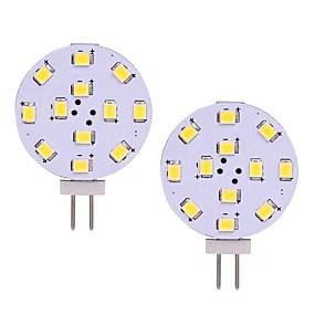 abordables Luces LED de Doble Pin-2 unids 2w g4 luz led 12 v 24 v ac / dc 12 leds smd 2835 blanco cálido blanco para campana de cocina ligera cocina rv barco techo gabinete lámpara
