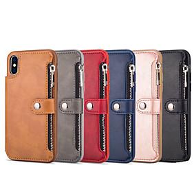 ราคาถูก เคสสำหรับ iPhone-Case สำหรับ Apple iPhone XS Max / iPhone 6 Wallet / Card Holder ปกหลัง สีพื้น Hard หนัง PU สำหรับ iPhone XS / iPhone XR / iPhone XS Max