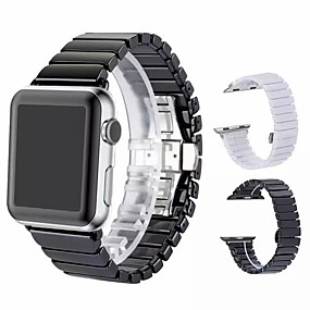 billiga Dagliga erbjudanden-klockband för äpple klock serie 4/3/2/1 äppel fjärilspännen keramisk handledsrem